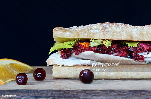 Roasted chicken, cranberry and orange relish baguette sandwich with garnish