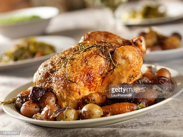 roasted chicken dinner - roasted stock pictures, royalty-free photos & images