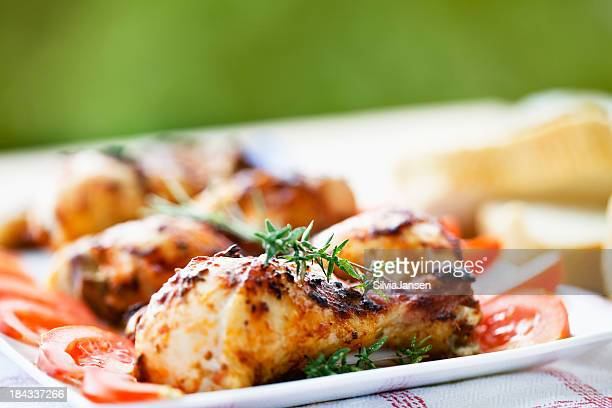 roasted chicken legs at summer picnic