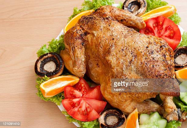 Roasted chicken on the plate