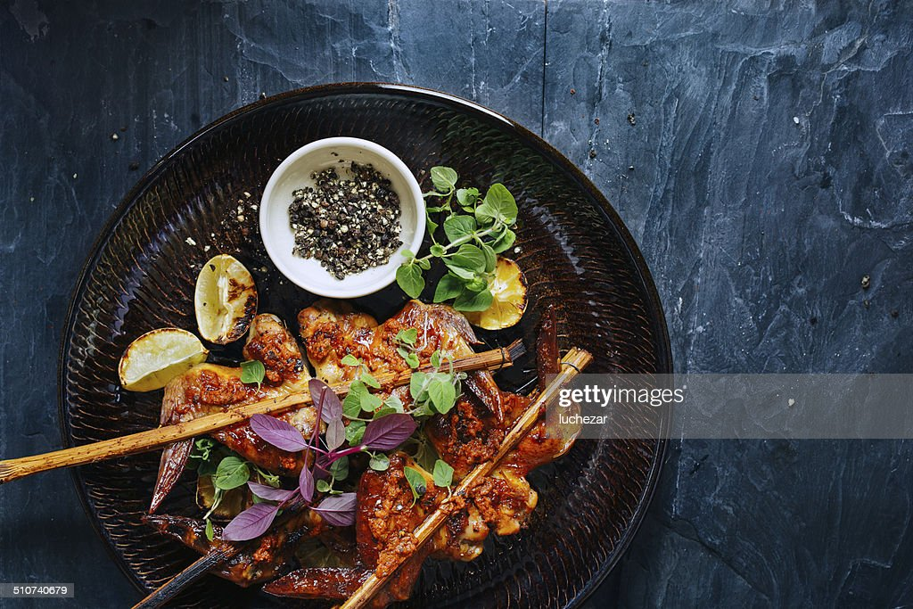 Roasted chicken wings : Stock Photo