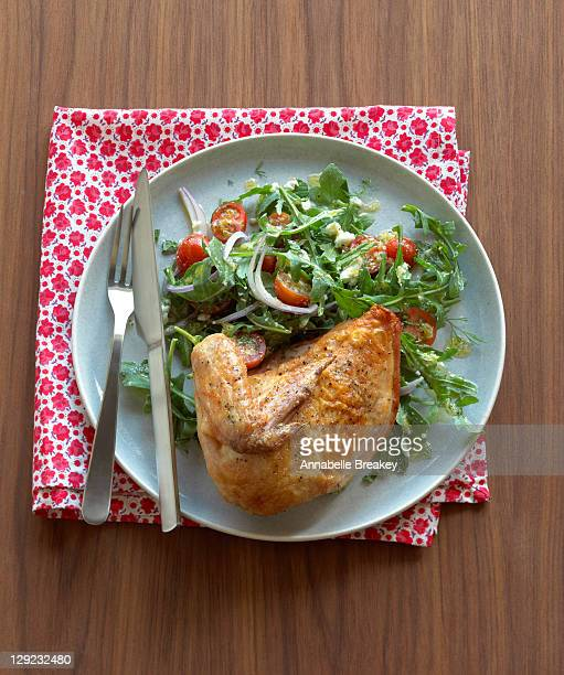 Roasted Chicken with Arugula Tomato Salad