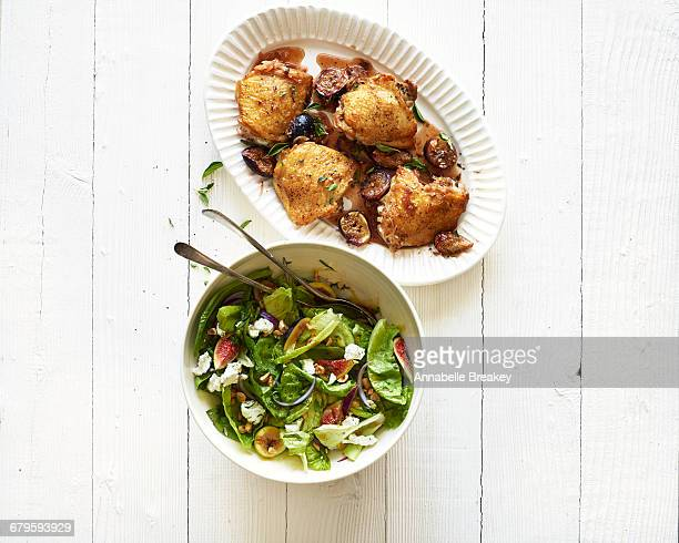 Roasted chicken with figs & little gem salad