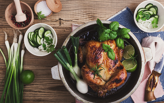 Roasted chicken with green vegetables salad and fresh herbs - gettyimageskorea