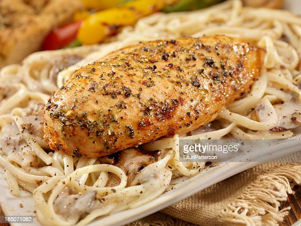 Roasted Chicken with Musroom Linguine