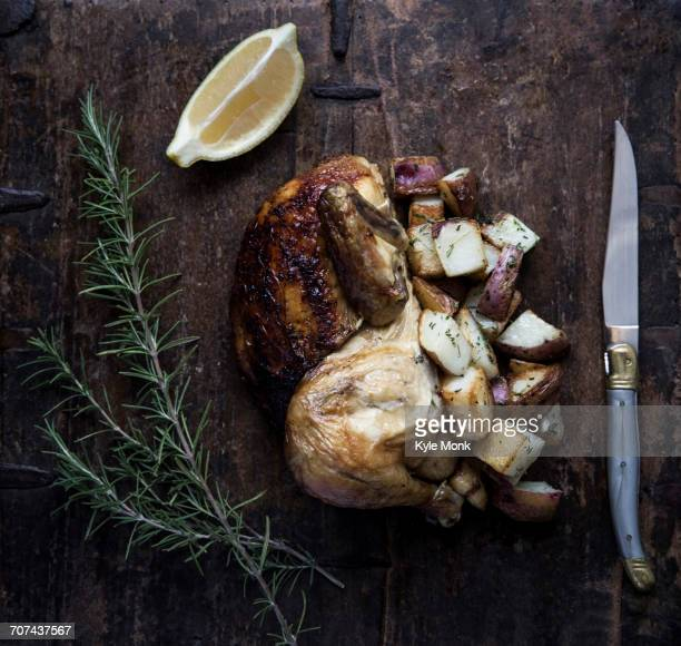 Roasted chicken with potatoes and lemon