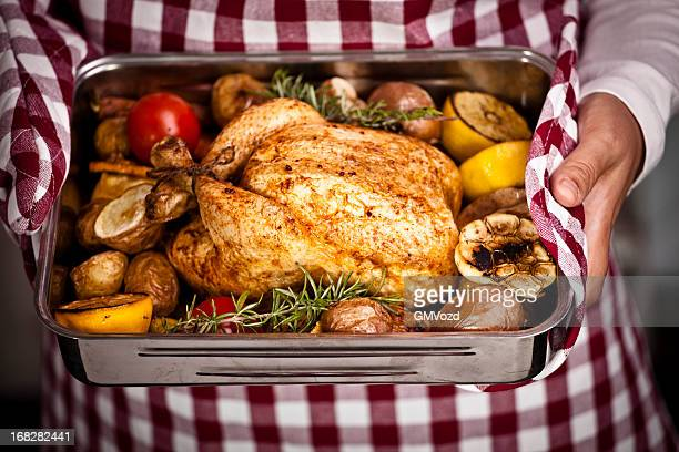 Roasted Chicken with Vegetables in Roasting Tin