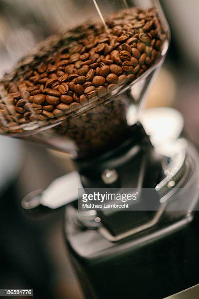 Roasted coffee beans in a grinding mill
