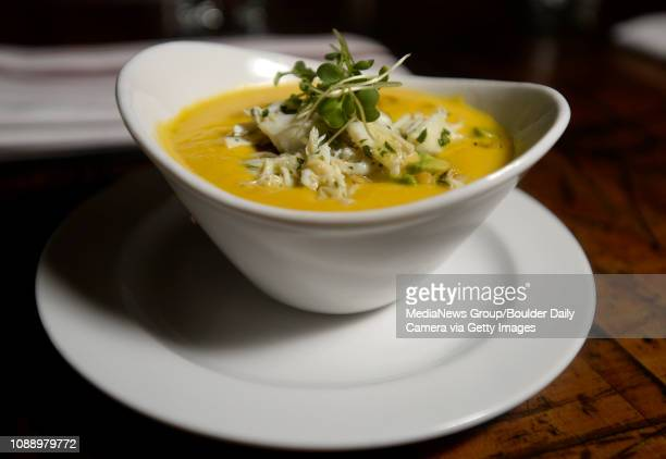 BEST 2 Roasted corn soup with Maryland blue crab tarragon oil and avocado salsa on Tuesday at the Blackbelly Market in Boulder