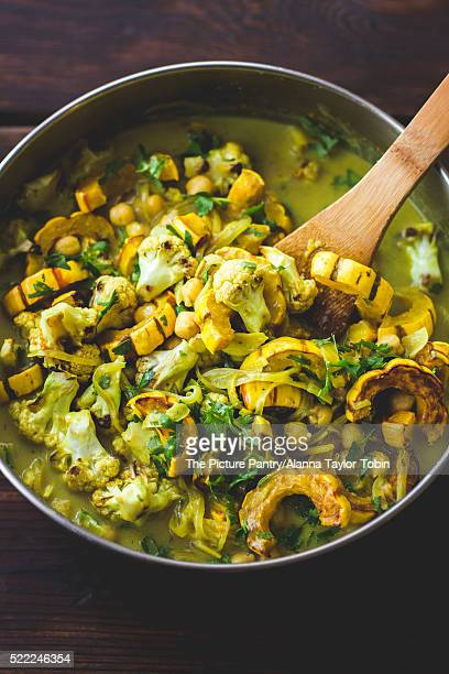 Roasted delicata squash curry with chickpeas and cauliflower