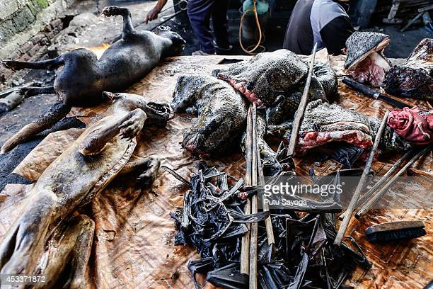 Roasted dogs snakes and bat wing are displayed for sale at Langowan traditional market on August 9 2014 in Langowan North Sulawesi The Langowan...
