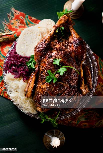 roasted duck dinner - mexican christmas stock photos and pictures