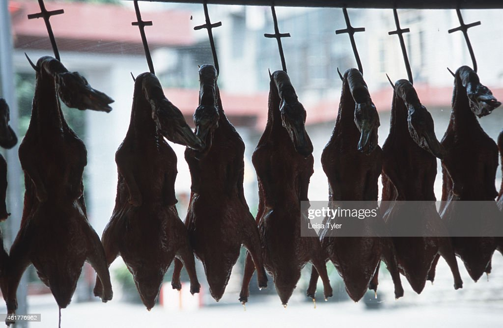 Roasted ducks hang from kitchen hooks in a Chengdu... : ニュース写真
