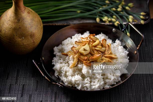 Roasted Garlic over Steamed Rice