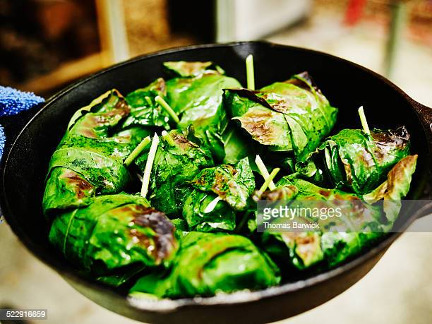 Roasted goat cheese wrapped in grape leaves