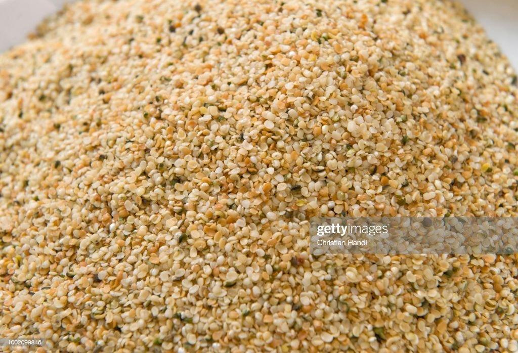 Roasted hemp seeds : Stock Photo