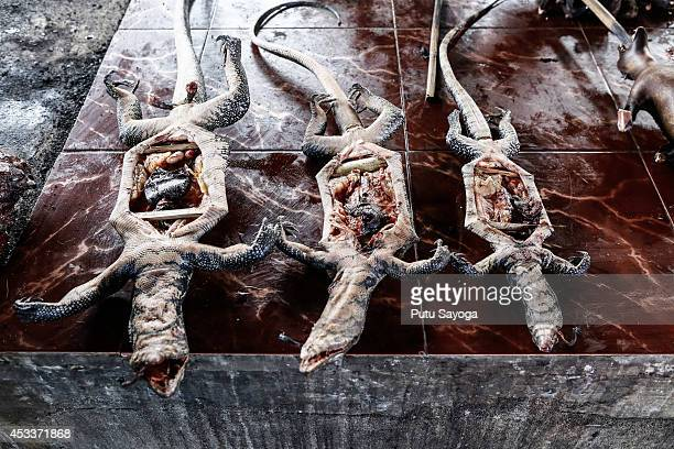 Roasted lizards are displayed for sale at Langowan traditional market on August 9 2014 in Langowan North Sulawesi The Langowan traditional market is...