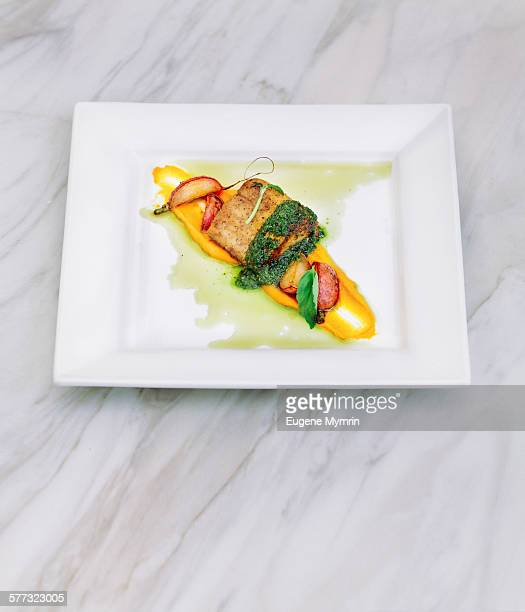 Roasted mackerel fillet with sauces