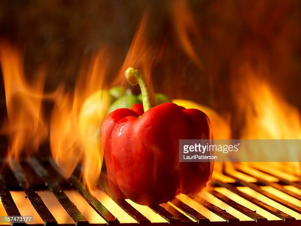 roasted peppers on the bbq - roasted pepper stock photos and pictures