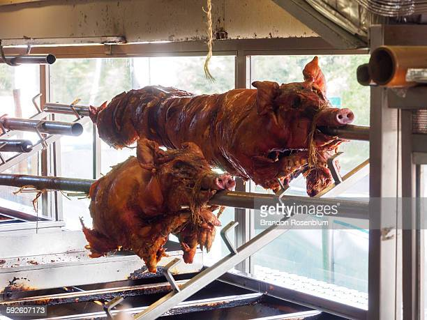 Roasted pigs at the lechoneras of Guavate