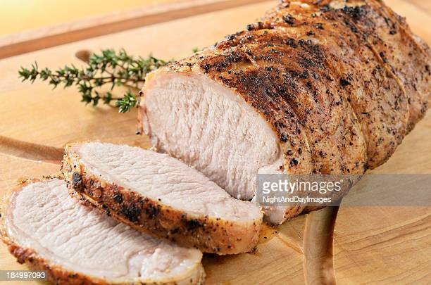 roasted pork tenderloin - pork stock pictures, royalty-free photos & images