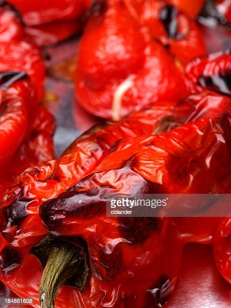 roasted red peppers - roasted pepper stock photos and pictures