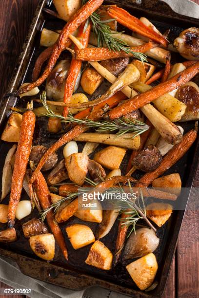 roasted root vegetables - roasted stock photos and pictures