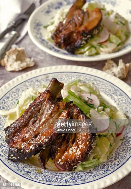 Roasted spare ribs with garnish