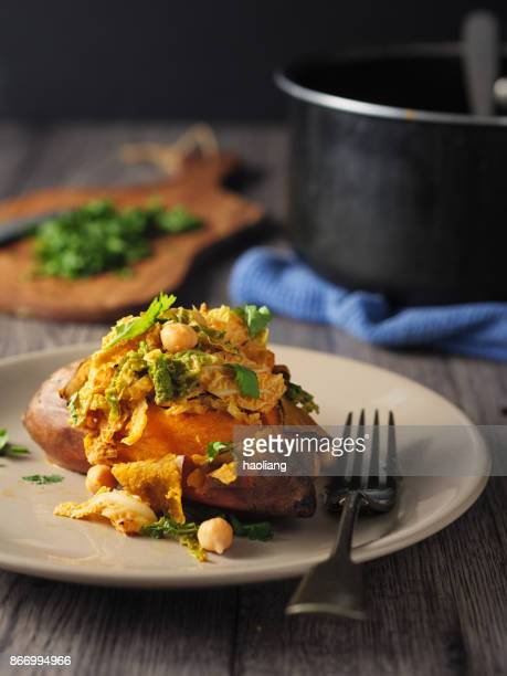 Roasted sweet potato with chickpea curry