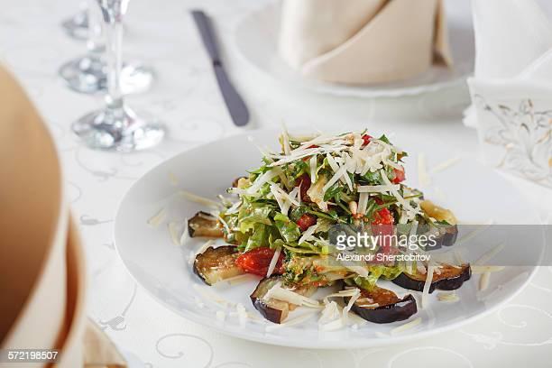 Roasted tomato and aubergine salad