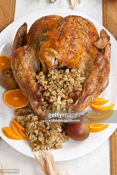 roasted turkey - stuffing stock photos and pictures