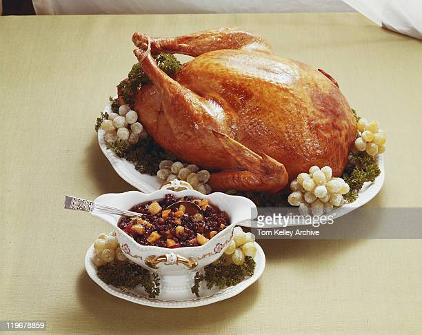 Roasted turkey with fruits, close-up