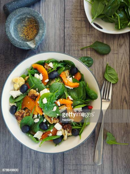 roasted vegetable with spinach salad