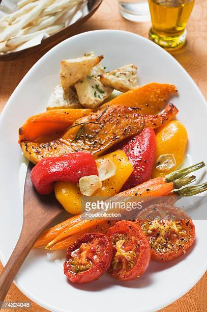roasted vegetables on platter - roasted pepper stock photos and pictures