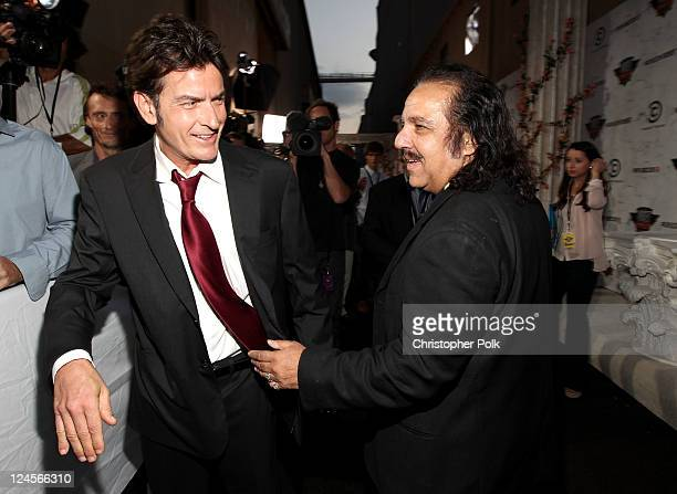 Roastee Charlie Sheen and Ron Jeremy arrive at Comedy Central's Roast of Charlie Sheen held at Sony Studios on September 10 2011 in Los Angeles...