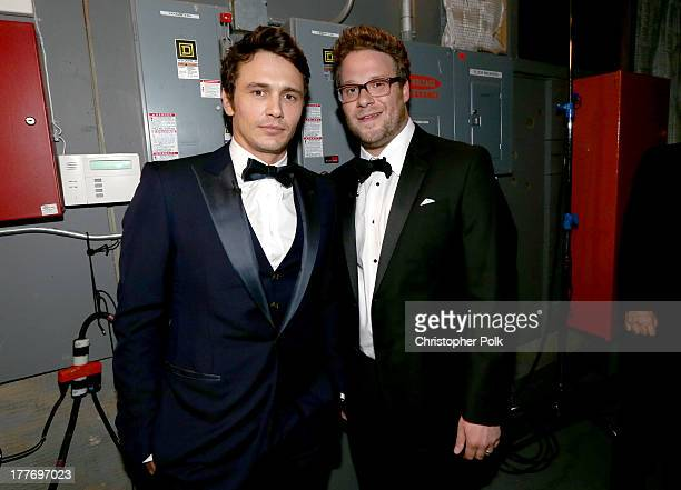 Roastee James Franco and roast master Seth Rogen attend The Comedy Central Roast of James Franco at Culver Studios on August 25 2013 in Culver City...