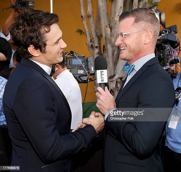 Roastee James Franco is interviewed by TV personality Marc Malkin as he attends The Comedy Central Roast of James Franco at Culver Studios on August...