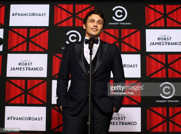 Roastee James Franco speaks onstage in the press room at The Comedy Central Roast of James Franco at Culver Studios on August 25 2013 in Culver City...