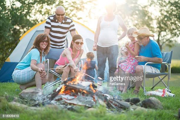 Roasting Dinner Over the Fire