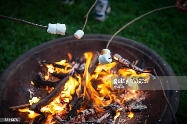焼きマシュマロは、ファイヤーピットの木燃焼 - アウトドアファイヤー ストックフォトと画像
