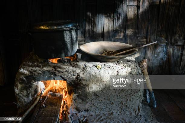 Roasting place for coffee beans collected from the excrement of civets at Kopi luwak farm and plantation in Ubud District Bali Indonesia on November...
