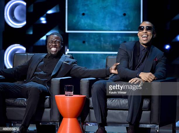 Roastmaster Kevin Hart and actor/rapper Ludacris onstage at The Comedy Central Roast of Justin Bieber at Sony Pictures Studios on March 14 2015 in...