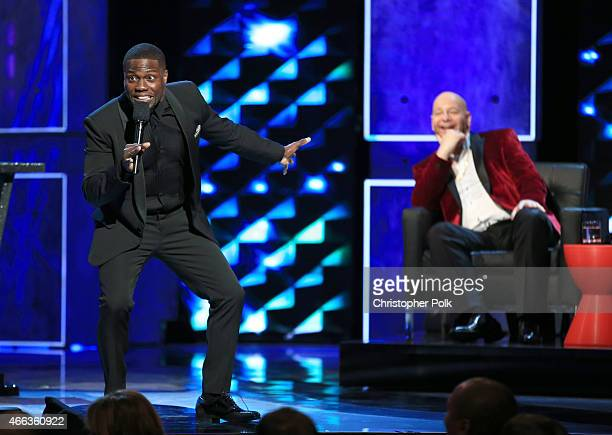 Roastmaster Kevin Hart and comedian Jeff Ross onstage at The Comedy Central Roast of Justin Bieber at Sony Pictures Studios on March 14 2015 in Los...
