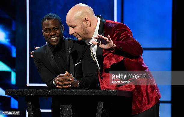 Roastmaster Kevin Hart and comedian Jeff Ross speak onstage at The Comedy Central Roast of Justin Bieber at Sony Pictures Studios on March 14 2015 in...