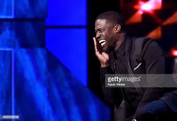 Roastmaster Kevin Hart onstage at The Comedy Central Roast of Justin Bieber at Sony Pictures Studios on March 14 2015 in Los Angeles California The...