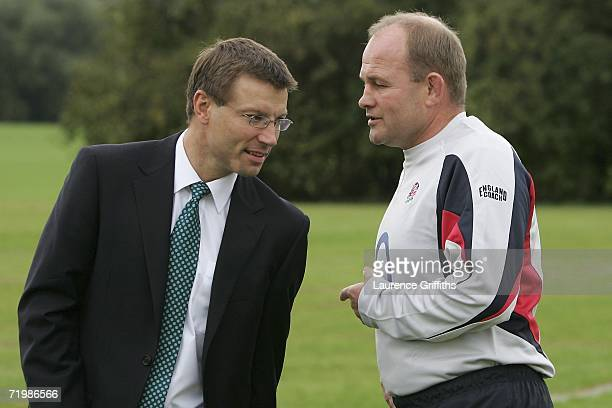 Rob Andrew and Andy Robinson of England talk during a training session at Loughborough University on September 25 2006 in Loughborough England