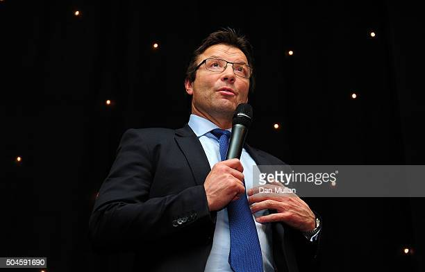 Rob Andrew Professional Rugby Director of the RFU speaks during the Rugby Union Writers' Club Annual Dinner Awards on January 12 2016 in London...