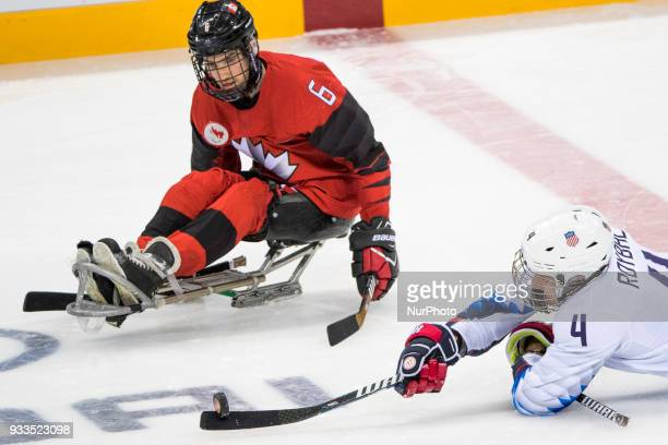 Rob ARMSTRONG and Brody ROYBAL during The Ice Hockey gold medal game between Canada and United States during day nine of the PyeongChang 2018...