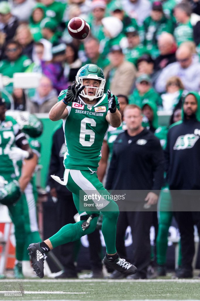 Rob Bagg #6 of the Saskatchewan Roughriders looks in the ball for a catch in the game between the Calgary Stampeders and Saskatchewan Roughriders at Mosaic Stadium on September 24, 2017 in Regina, Canada.