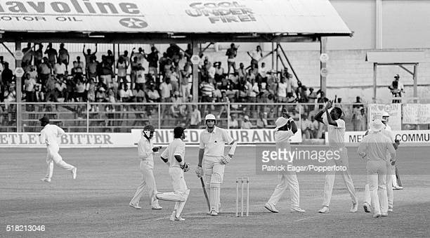 Rob Bailey of England is out caught behind by West Indies wicketkeeper Geoffrey Dujon off Curtly Ambrose during the 4th Test between West Indies and...